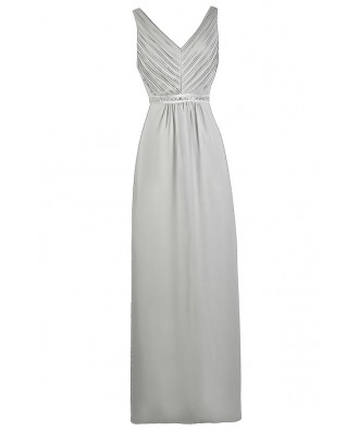 Grey maxi Bridesmaid Dress, Cute Grey Dress, Grey Prom Dress
