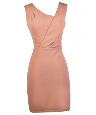 Pink Salmon Sheath Dress, Cute Pink Dress, Cute Work Dress