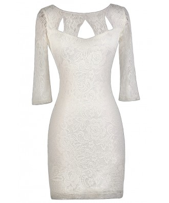 Cute Ivory Dress, Ivory lace Bodycon Dress, Ivory Party Dress