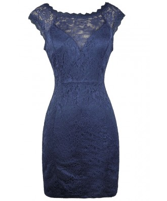 Blue Lace Pencil Dress, Online Boutique Dress, Lace Cocktail Dress