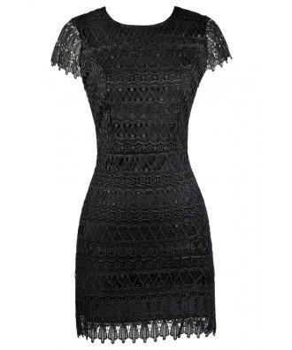 Black Capsleeve Lace Dress, Black Party Dress, Cocktail Dress