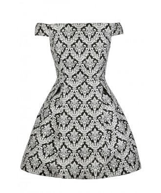 Off Shoulder A-Line Dress, Cute Printed Dress, Black and White Insignia Pattern Dress