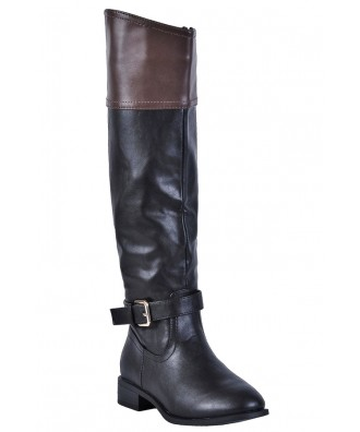 Black and Brown Riding Boots, Cute Fall Boots