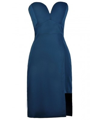 Blue Strapless Cocktail Dress, Blue Party Dress, Cute Blue Online Boutique Dress