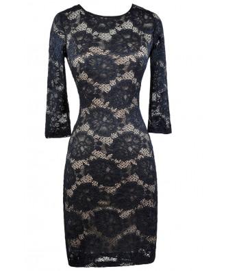 Navy Lace Dress, Lace Pencil Dress, Online Boutique Dress