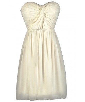 Ivory Chiffon Dress, Rehearsal Dinner Dress, Bridal Shower Dress