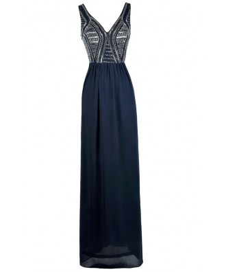 Navy Blue Prom Dress, Navy Maxi Dress, Navy Beaded Formal Dress