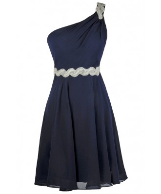 Navy Party Dress, Navy Bridesmaid Dress, Cute Navy Dress