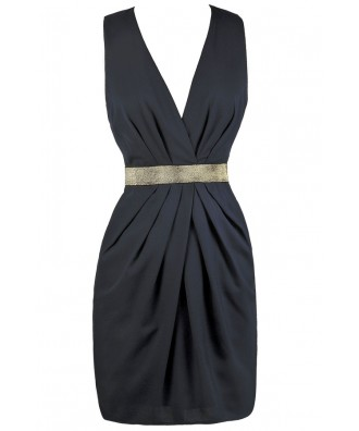 Navy Cocktail Dress, Navy and Gold Party Dress, Online Boutique Dress