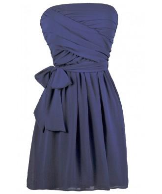 Royal Blue Strapless Dress, Bridesmaid Dress, Cute Summer Dress