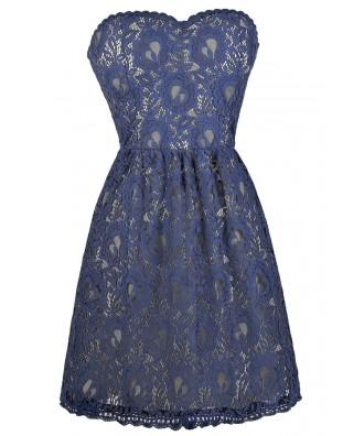 Blue Strapless Lace Dress, Cute Summer Dress, Online Boutique Dress