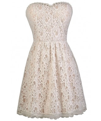 Ivory Strapless Lace Dress, Rehearsal Dinner Dress, Bridal Shower Dress, A-Line Dress