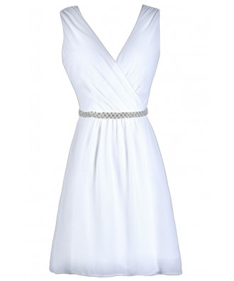 White Embellished Chiffon Dress, Rehearsal Dinner Dress, Bridal Shower Dress, Cute White Dress