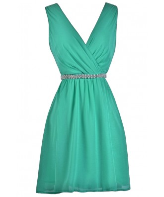 Cute Jade Green Bridesmaid Dress, Jade Embellished Dress, Jade Party Dress