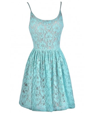 Mint and Beige Lace A-Line Dress, Cute Summer Dress, Mint Sundress