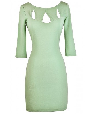 Cute Green Dress, Green Bodycon Dress, Cutout Green Dress