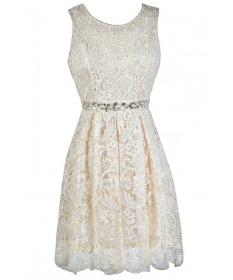 Beige Lace A-Line Dress, Rehearsal Dinner Dress, Bridal Shower Dress