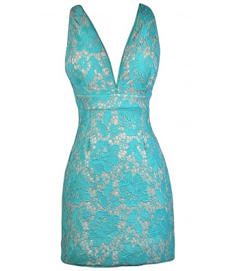 Teal Lace Cocktail Dress, Teal Lace Party Dress, Fitted Teal Dress