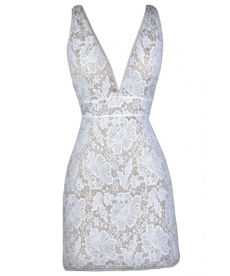 Ivory Lace Cocktail Dress, Ivory Lace Party Dress, Fitted Lace Dress