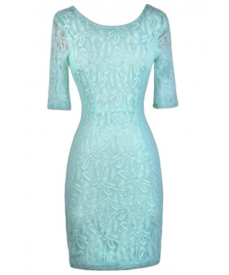 Cute Mint Dress, Mint Bodycon Dress, Mint Lace Dress