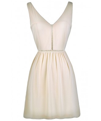 Cute Beige Dress, Beige A-Line Dress, Rehearsal Dinner Dress
