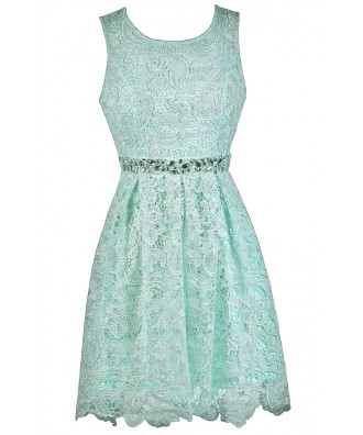 Mint Lace A-Line Dress Online, Cute Mint Bridesmaid Dress, Cute Summer Dress