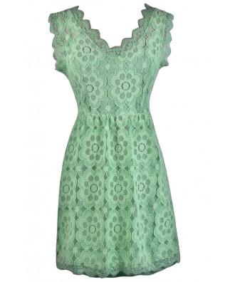 Sage Green Lace A-line Dress, Cute Bridesmaid Dress, Green Summer Dress