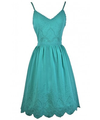 Jade Green A-Line Midi Dress, Jade Green Sundress, Cute Summer Dress