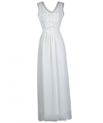 Off White Lace Maxi Dress, Cute Summer Dress, White Lace Maxi Dress