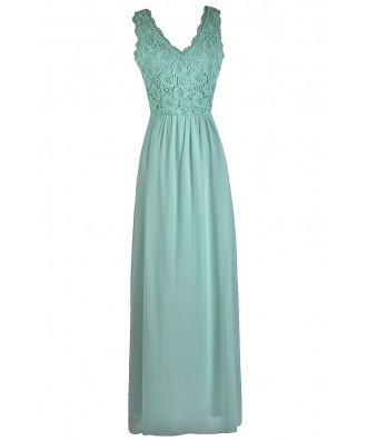 Sage Green Lace Maxi Dress, Cute Green Bridesmaid Dress