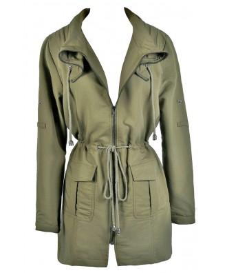 Cute Olive Green Fall Jacket