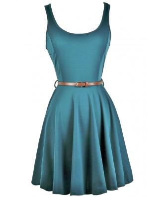Teal Green Belted A-line Dress, Cute Country Dress, Teal Summer Dress