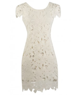 Ivory Lace Sheath Dress, Ivory Rehearsal Dinner Dress, Cute Bridal Shower Dress