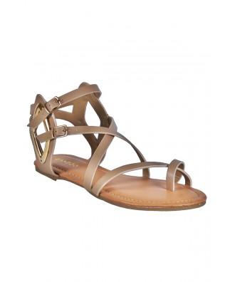 Beige Short Gladiator Sandals, Boho Sandals, Nude Gladiator Sandals