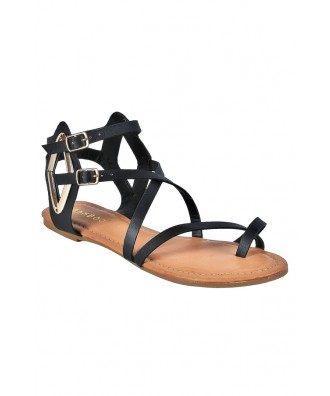 Short Black Gladiator Sandals, Cute Black Sandals, Boho Shoes