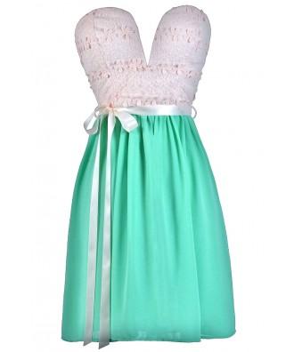 Beige and Mint Party Dress Online, Cute Mint Dress, Lace Summer Dress