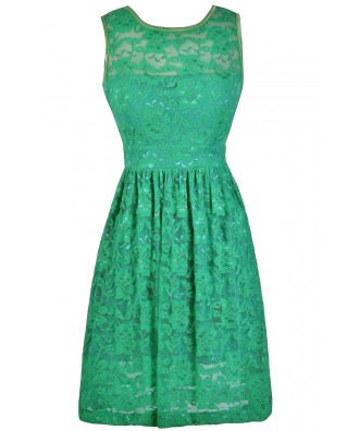 Green Lace A-Line Dress, Green Bridesmaid Dress, Cute Summer Dress
