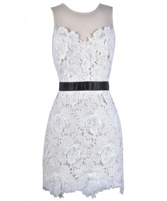 Black and White Lace Sheath Dress, Cute Lace Dress