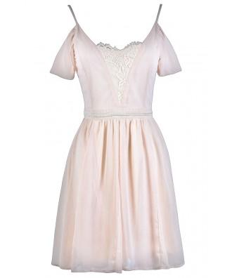 Beige Off Shoulder Dress, Cute Rehearsal Dinner Dress, Bridal Shower Dress Online