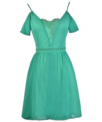 Jade Green Off Shoulder Party Dress, Jade Bridesmaid Dress Online