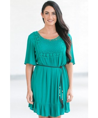 Belted Flowy Teal Country Summer Dress
