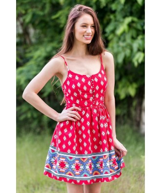 Cute Red Sundress, Southwestern Pattern Summer Dress