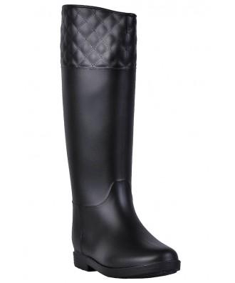 Black Rain Boots, Cute Rain Boots, Quilted Rain Boots