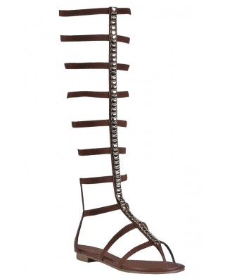 Brown Gladiator Sandals, Cute Boho Sandals, Studded Gladiator Sandals
