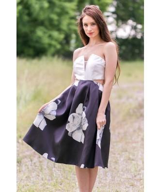 Black and Ivory Rose Print Midi Dress, Cute Printed Dress, Summer Dress Online