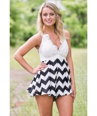 Black and White Chevron Romper, Cute Summer Romper, Lace and Chevron Romper