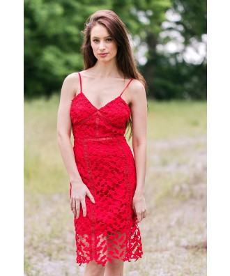 Red Lace Midi Pencil Dress, Cute Red Dress Online, Lace Cocktail Dress