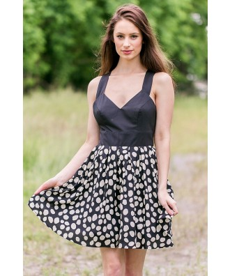 Black and Ivory Polka Dot Print Dress, Cute Party Dress, Summer Sundress Online