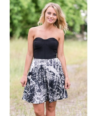 Black and Ivory Printed Party Dress, Cute Cocktail Dress, Splatter Print Dress Online