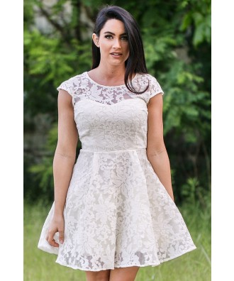 Cream Lace A-Line Dress, Ivory Rehearsal Dinner Dress, Bridal Shower Dress